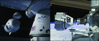NASA has ordered more private space taxi flights to the International Space Station using SpaceX's Dragon spacecraft (left in artist's depiction) and Boeing's CST-100 Starliner (right). The agency has booked a total of six flights each from the companies