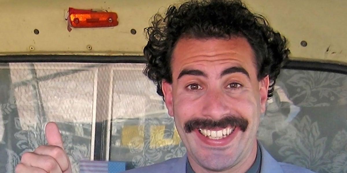 Borat (Sacha Baron Cohen) gives a thumbs up in 'Borat 2'