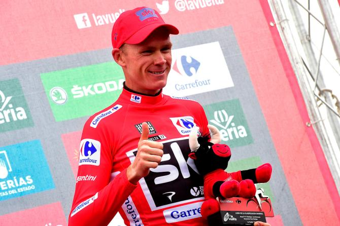 Chris Froome in red after stage 17 at the Vuelta