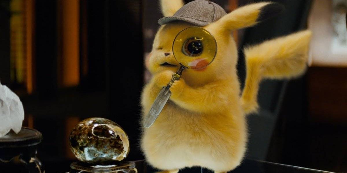 Pokemon: Detective Pikachu Pikachu uses a magnifying glass