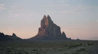 The desert Four Corners region contains beautiful landforms like Shiprock in New Mexico.