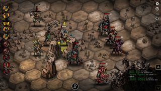 An image of hex-based tactical combat from grim low fantasy game Urtuk: The Desolation