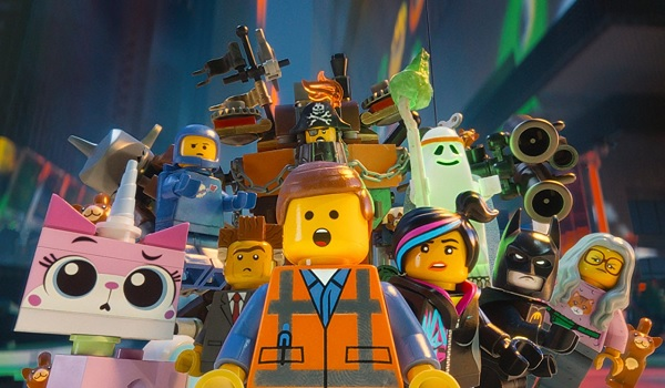 The Lego Movie Unikitty Benny Lord Business Emmet Wyldstyle Batman all shocked by the Duplo invasion