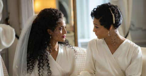 """""""Something Old, Something New"""" Angel (Indya Moore) shares a moment with her mother Blanca (MJ Rodriguez) in the bridal suite before her wedding to Papi (Angel Bismark Curiel)."""
