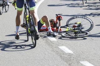 Vuelta Espana 2021 - 76th Edition - 4th stage El Burgo de Osma - Molina de Aragon 163,9 km - 17/08/2021 - Crash - Rein Taaramae (EST - Intermarche' - Wanty - Gobert Materiaux) - photo Luis Angel Gomez/BettiniPhoto©2021