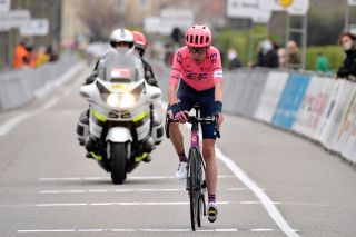 LIVRONSURDROME FRANCE FEBRUARY 27 Arrival Hugh Carthy of United Kingdom and Team EF Education Nippo during the 21st FaunArdche Classic 2021 a 1713km race from GuilherandGranges to GuilherandGranges bouclesclassic BDA21 on February 27 2021 in LivronsurDrome France Photo by Bruno BadeGetty Images