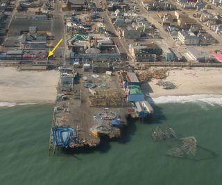 Seaside Heights Pier in New Jersey, devastated after Hurricane Sandy.