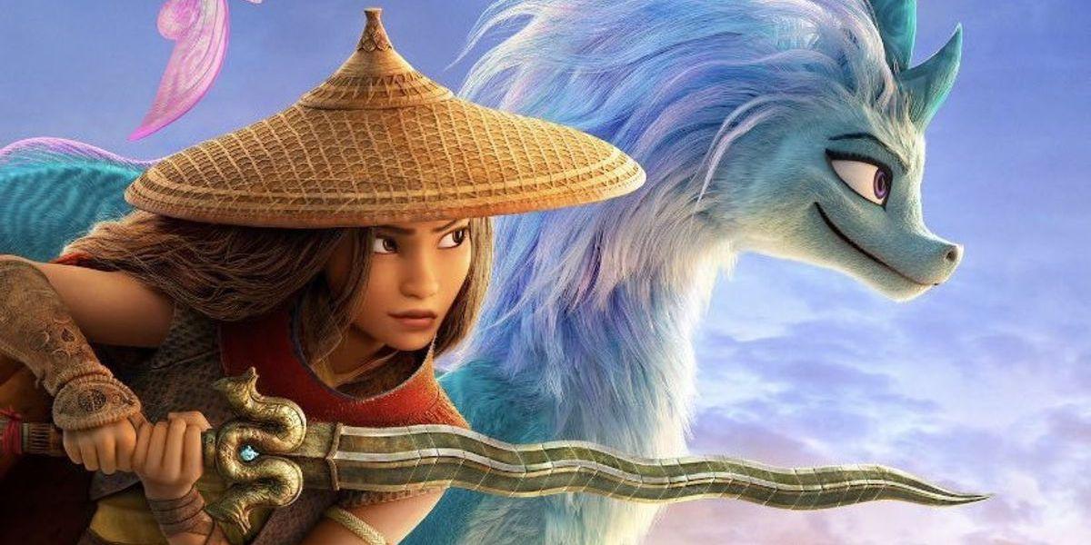 Kelly Marie Tran as Raya with Sisu in Disney's Raya and the Last Dragon