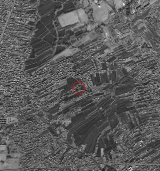 This January 15, 2011, large satellite image of Abbottabad, Pakistan shows the probable compound where Osama Bin Laden was shot and killed centered in the image. The house is on a upside down triangular shaped lot.