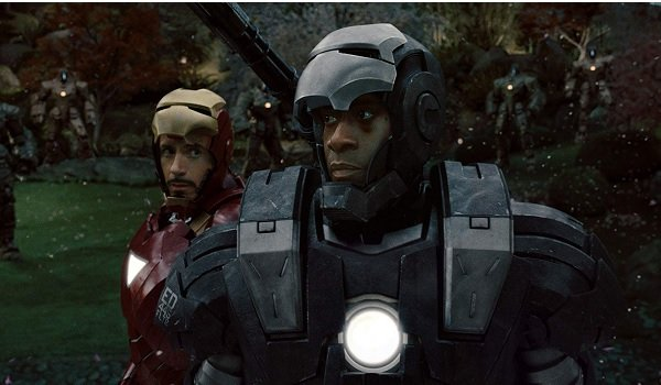 Iron Man 2 War Machine and Iron Man prepare to fight the drones