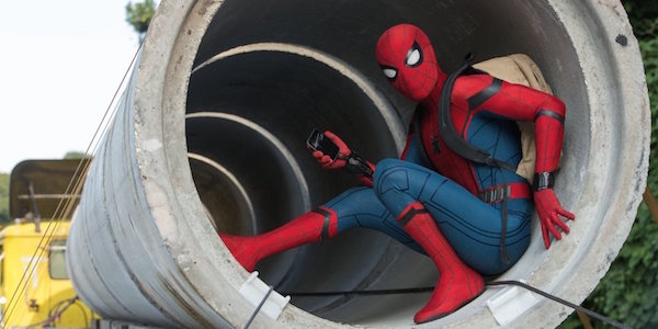 Spider-Man in concrete cylinder