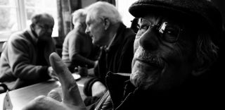 Older men at coffee, aging, age-related decline