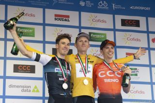 Márton Dina (left - Kometa-Xstra), Krists Neilands (Israel Start-Up Nation) and Attila Valter (CCC Team) on the podium at the Tour de Hongrie 2019