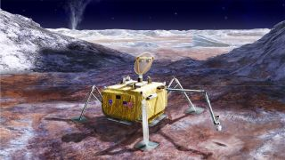 An artist's depiction of Europa Lander at work on the surface of Jupiter's icy moon.
