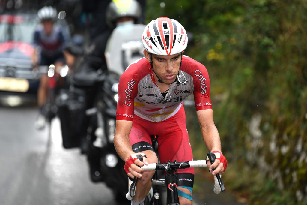 LAGOS DE COVADONGA SPAIN SEPTEMBER 01 Guillaume Martin of France and Team Cofidis competes during the 76th Tour of Spain 2021 Stage 17 a 1855km stage from Unquera to Lagos de Covadonga 1085m lavuelta LaVuelta21 on September 01 2021 in Lagos de Covadonga Spain Photo by Tim de WaeleGetty Images