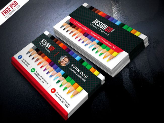 Free business card templates: Coloured Pencils
