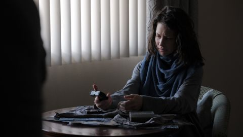 In Eugene Jarecki's 'Crisis,' Evangeline Lilly plays Claire, a mother who begins her own investigation after her son dies under mysterious circumstances.