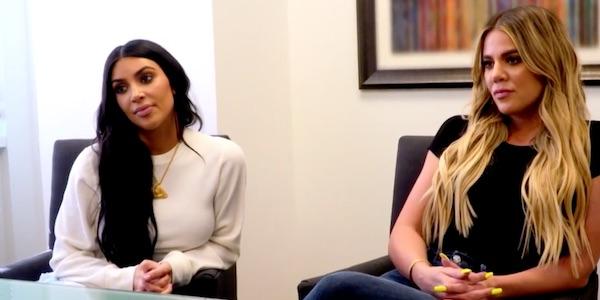 Kim Kardashian and Khloe Kardashian at a fertility clinic