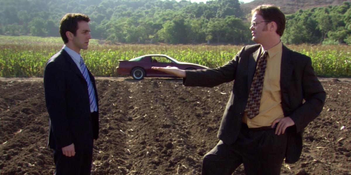 B.J. Novak as Ryan Howard and Rainn Wilson as Dwight Schrute in The Office