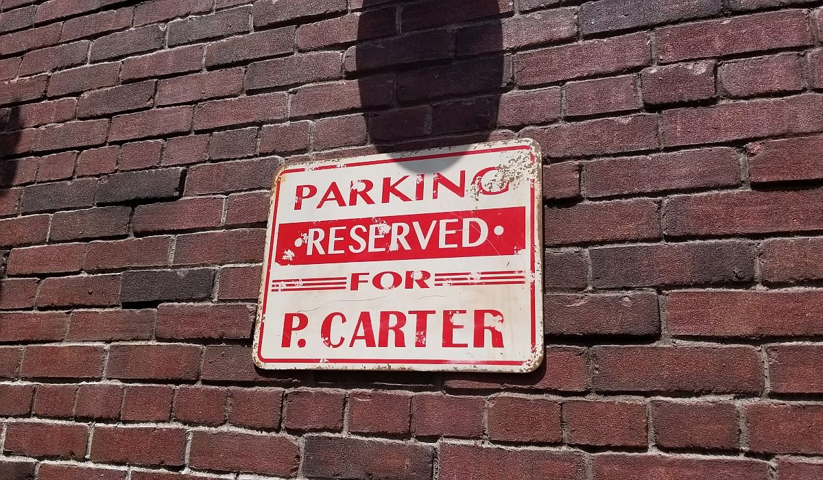 Parking Reserved for P. Carter sign in Avengers Campus