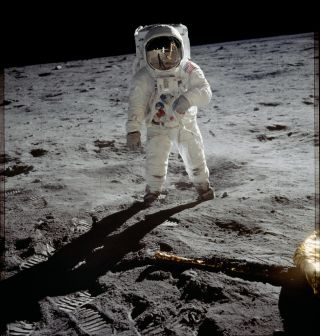 Astronaut Buzz Aldrin in his iconic Apollo spacesuit poses for a portrait on the moon during the Apollo 11 lunar landing mission in July 1969. The technology behind the Apollo spacesuit is still in use today on Earth.