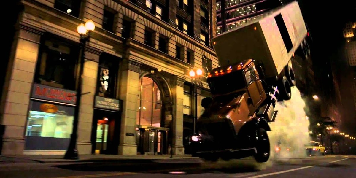 The famous, and very real, semi truck flip from The Dark Knight