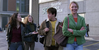 Cristina Yang, Meredith Grey, George O'Malley and Izzie Stevens walk out of Seattle Grace on Grey's Anatomy
