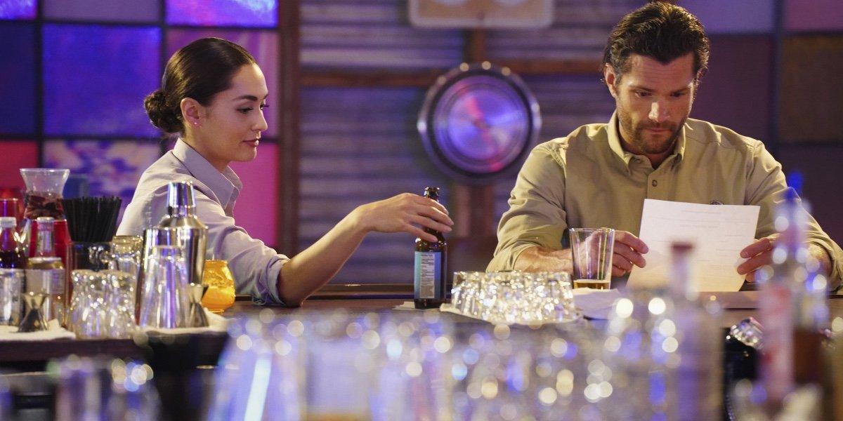 Lindsey Morgan as Micki Ramirez and Jared Padalecki as Cordell Walker in Walker.