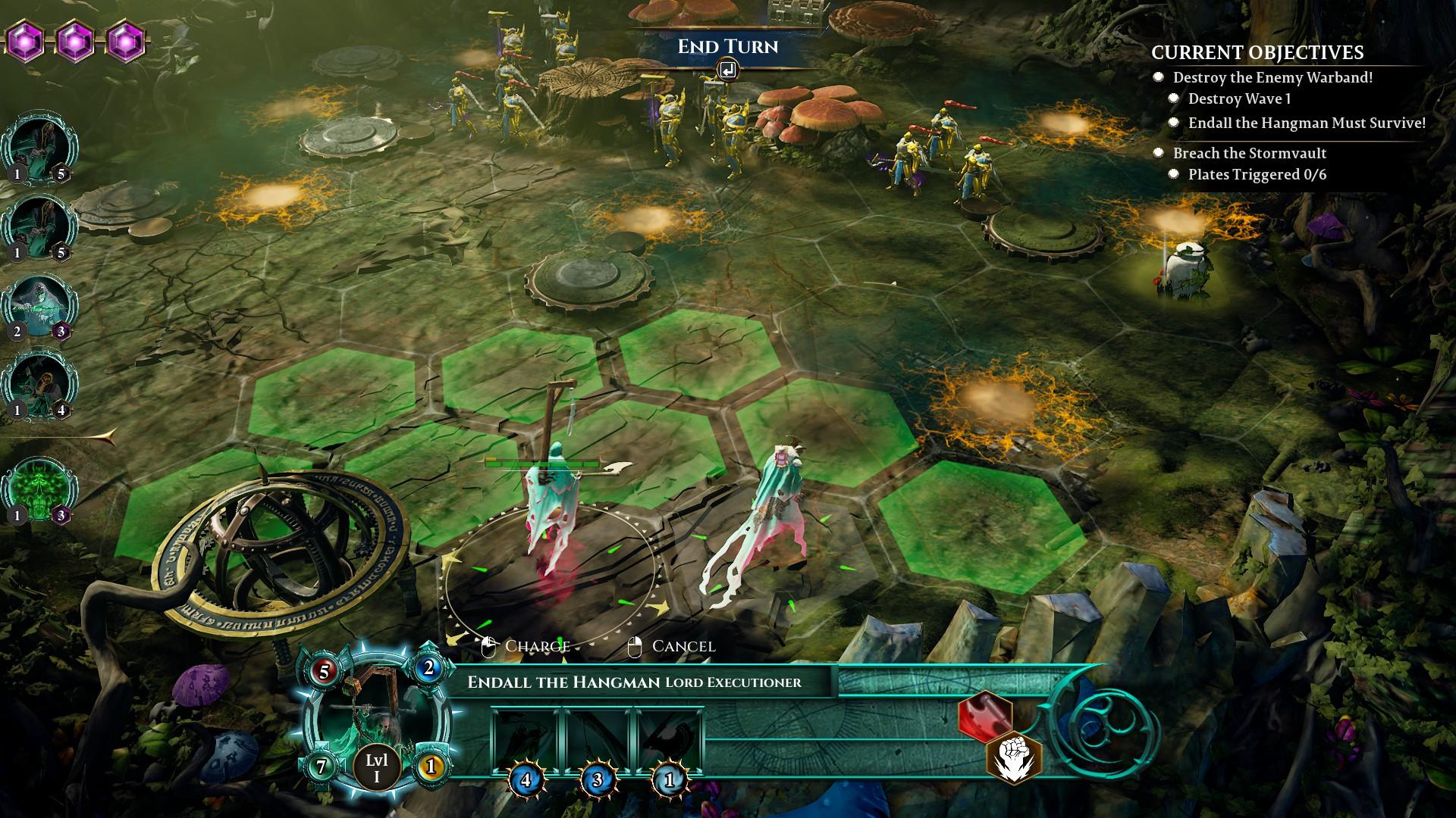 Nighthaunts approach Stormcast Eternals across a battlefield