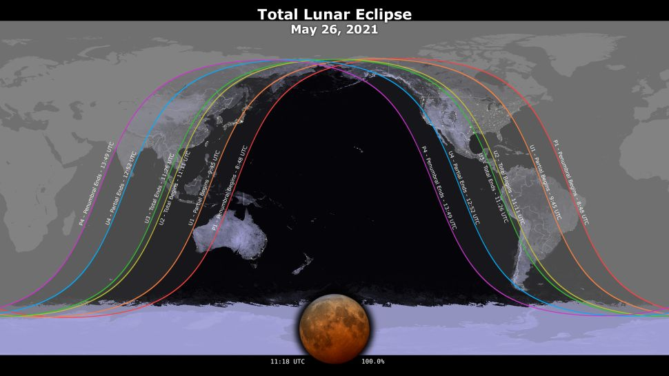 What time does the 'Super Flower Blood Moon' eclipse begin?