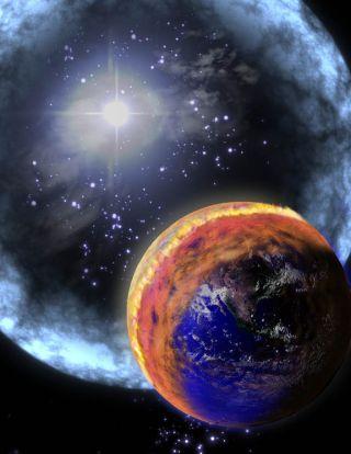 Gamma ray burst hitting Earth illustration
