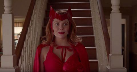 Elizabeth Olsen as Wanda Maximoff in a traditional Scarlet Witch costume in 'WandaVision.'