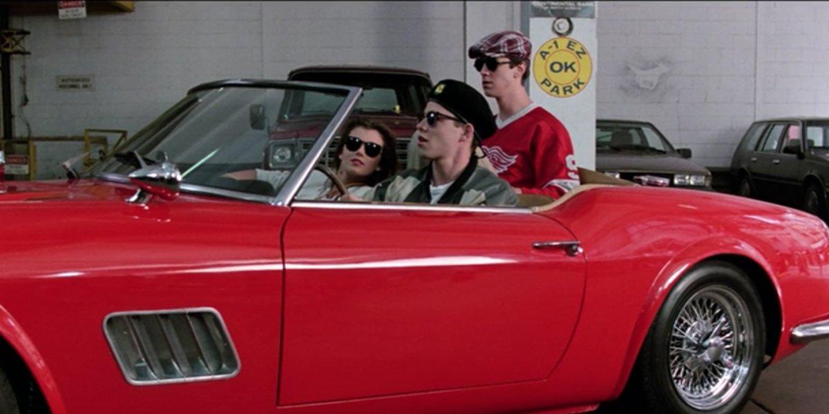 Ferris Bueller's Day Off trio in car