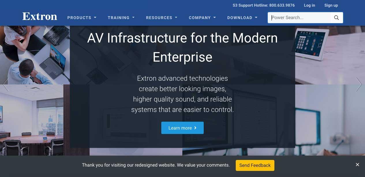 Extron Updates Website | AVNetwork