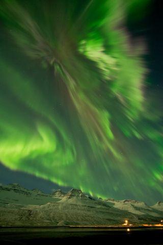 Aurora Over Iceland Fjord
