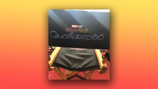 A photo of the new Ant-Man movie logo on the back of a chair.