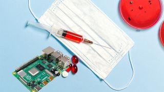 A Raspberry Pi board and blood-taking paraphernalia