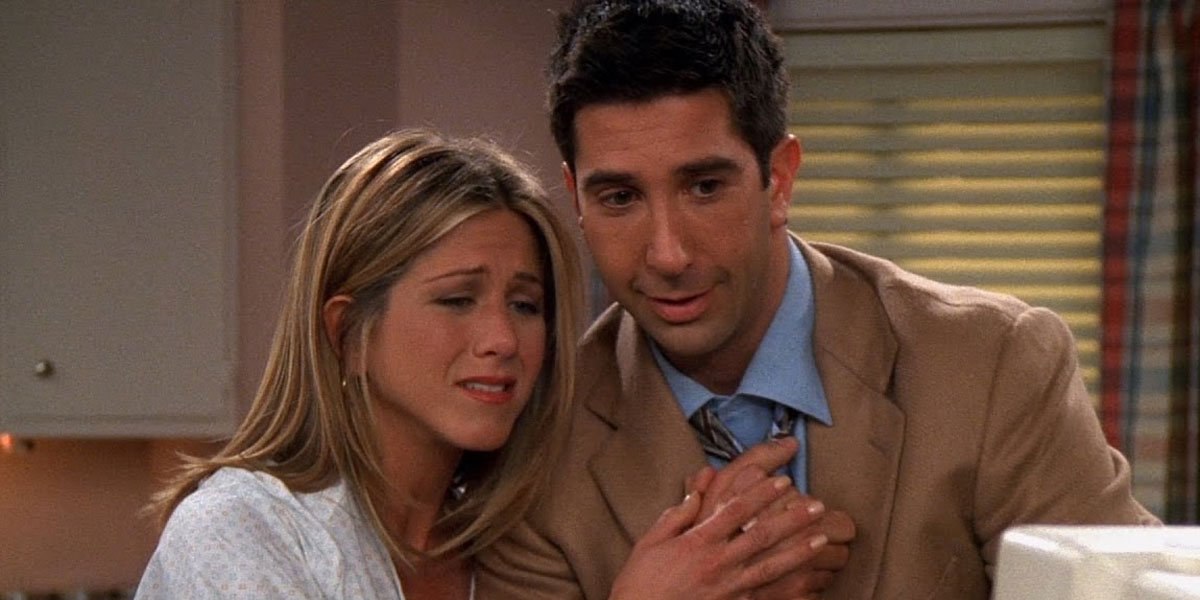 Ross And Rachel in the hospital looking nervous and excited.