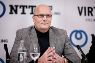 Bjarne Riis is announced as the new team manager of NTT Pro Cycling at a press conference in Copenhagen, Denmark, in January 2020