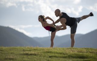Danny O'Shea and Tarah Kayne practice a lift off-ice. Colorado Springs, CO