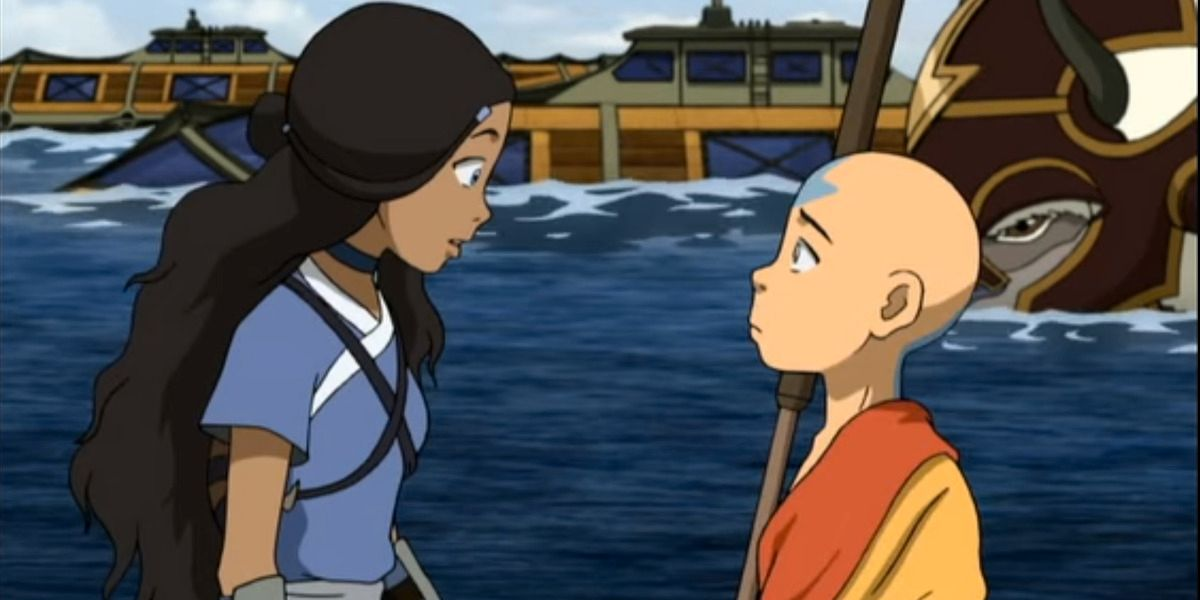 """Aang and Katara, a known """"ship"""" in Avatar: The Last Airbender"""