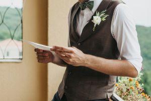 Man reading non-religious wedding ceremony readings.