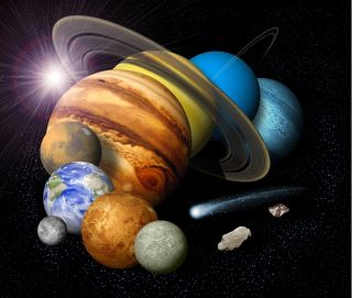 a collage of the planets of the solar system, not to scale.