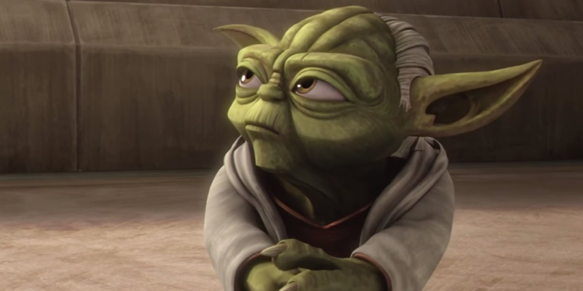 An animated Yoda from Star Wars: The Clone Wars