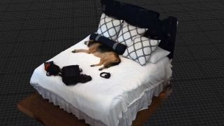 A dog, on a bed, inside Unreal Engine 5.