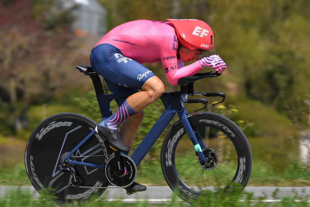 ORON SWITZERLAND APRIL 27 Stefan Bissegger of Switzerland and Team EF Education Nippo during the 74th Tour De Romandie 2021 Prologue a 405km Individual Time Trial stage from Oron to Oron 700m ITT TDR2021 TDRnonstop UCIworldtour on April 27 2021 in Oron Switzerland Photo by Luc ClaessenGetty Images