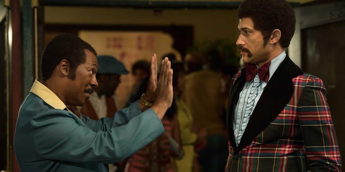 Keegan-Michael Key alongside Eddie Murphy in the Netflix film, Dolemite Is My Name.