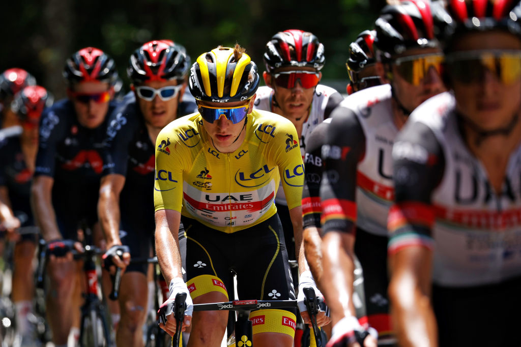 QUILLAN FRANCE JULY 10 Tadej Pogaar of Slovenia and UAETeam Emirates Yellow Leader Jersey during the 108th Tour de France 2021 Stage 14 a 1837km stage from Carcassonne to Quillan LeTour TDF2021 on July 10 2021 in Quillan France Photo by Chris GraythenGetty Images