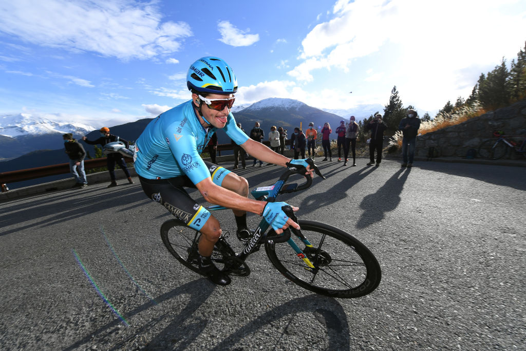 LAGHI DI CANCANO ITALY OCTOBER 22 Jakob Fuglsang of Denmark and Astana Pro Team during the 103rd Giro dItalia 2020 Stage 18 a 207km stage from Pinzolo to Laghi di Cancano Parco Nazionale dello Stelvio 1945m girodiitalia Giro on October 22 2020 in Laghi di Cancano Italy Photo by Tim de WaeleGetty Images