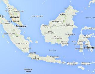Map of area where AirAsia flight crashed